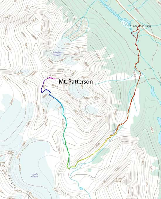 Mt. Patterson ski/snowshoe ascent route