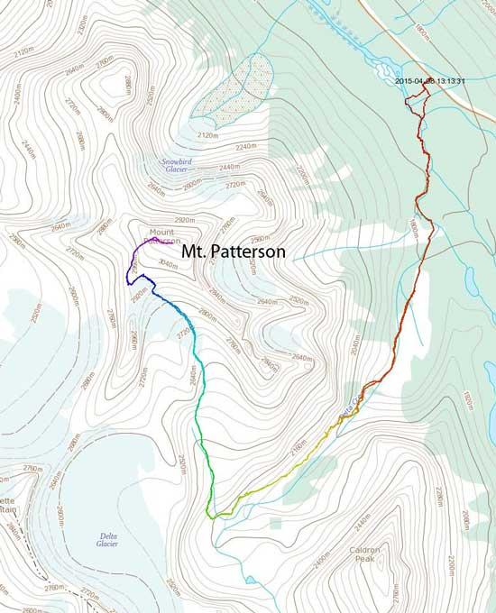Mt. Patterson ski/snowshoe ascent route