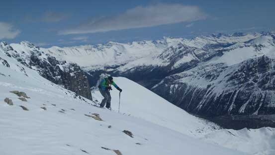 Continuing down the lower ridge/face