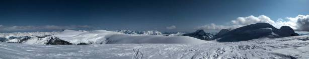 Panorama of Columbia Icefield from Stutfield Peak. Click to view large size.