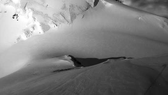 We had to bootpack down this steep slope. Below is ST/NT col