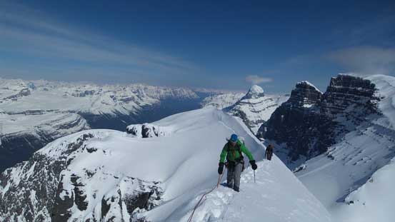 """Vern and Kevin approaching the summit of South Twin. This is Vern's last """"Twin"""""""