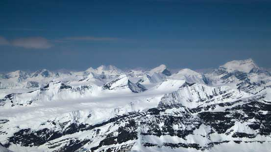 Mt. Shakleton, Tusk Peak and Mt. Clemenceau dominating the skyline