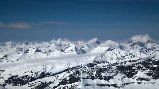 Mt. Shakleton, Tusk Peak and Mt. Clemenceau dominating the skyline