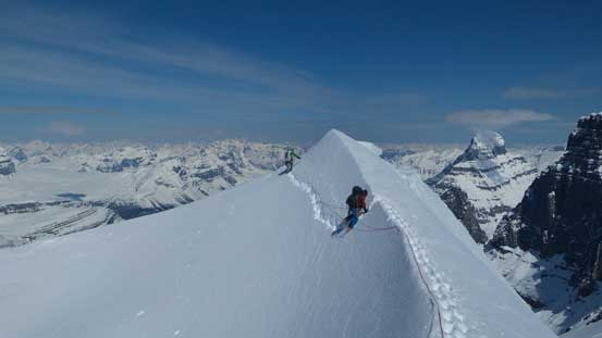 Traversing back across that cornice