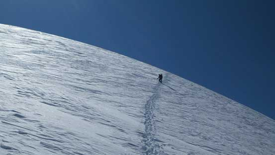 Kevin descending the icy bit