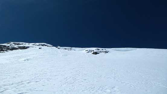Looking up the snow face on West Twin. Note the cornices...