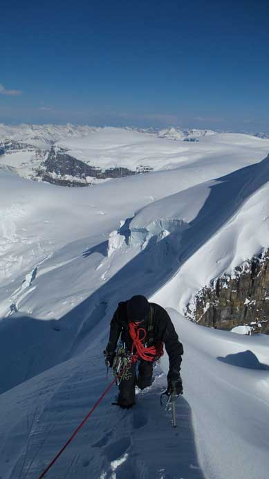Kevin approaching the summit of Twins Tower, his last peak on the Columbia