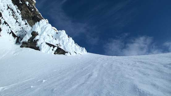 There's no break between the couloir and the face