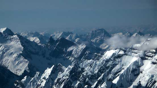 Robinson Peaks and other rugged mountains in BC Rockies