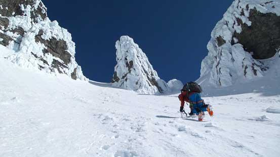 More down-climb...