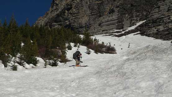 Dropping into the avalanche path