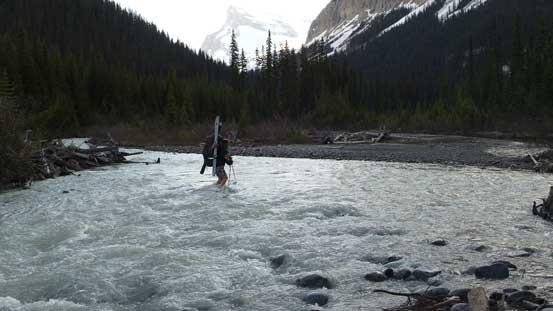 Ben crossing the river