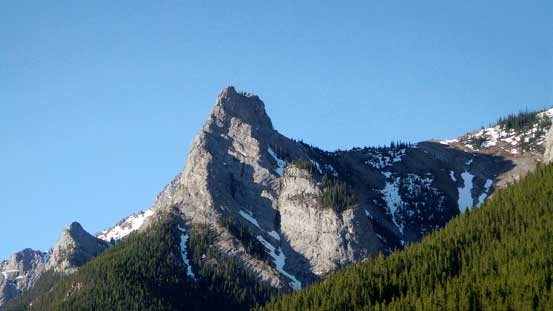Wasootch Tower from the parking lot. The N. Ridge goes up the leftmost rib directly ahead