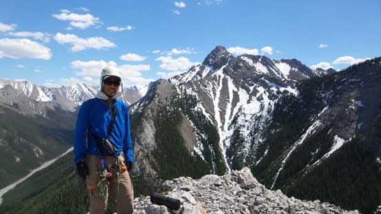 Me on the summit of Wasootch Tower, with Kananaskis Peak behind