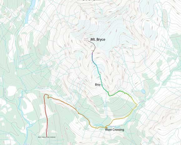 Mt. Bryce ascent route via S. Couloir and SE Face