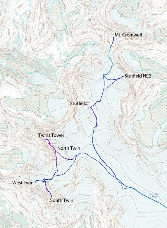 The ascent routes for Twins, Stutfields and Cromwell
