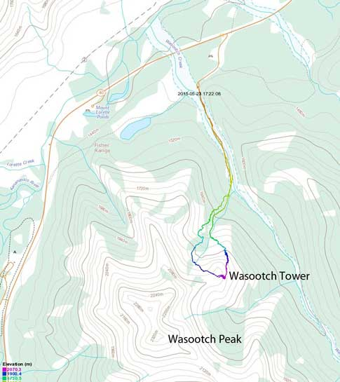 Wasootch Tower ascent route via N. Ridge