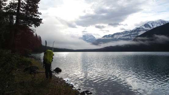 Partway across Glacier Lake, looking back