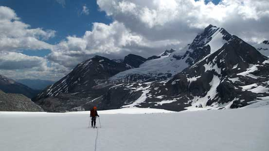 Ben crossing Mons Icefield after negotiating the crevasses section