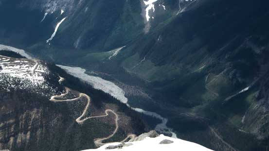 A view looking down at Icefall Brook and the associated logging roads