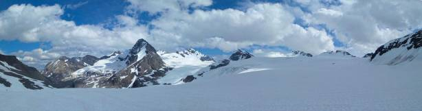 Panorama view from Mons Icefield. Click to view large size.