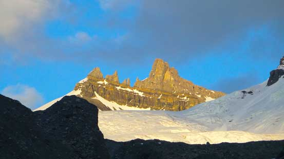 This pinnacle on Mt. Forbes is very impressive. Not sure if it's been climbed