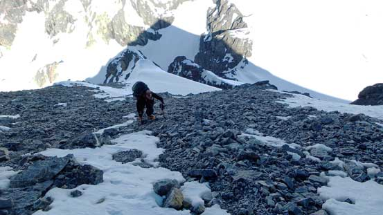 A section of loose scree to ascend on the W. Ridge