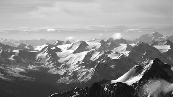 All the familiar peaks on the Wapta Icefield are way below us now...