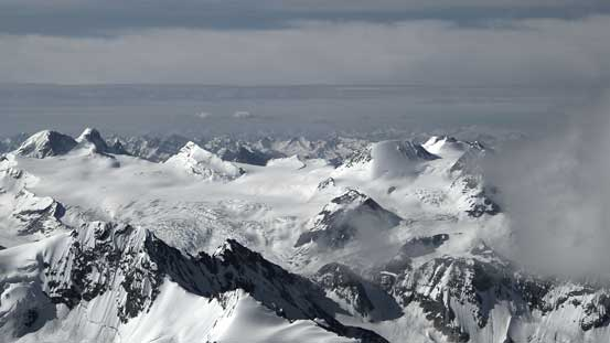 Looking down on the Freshfield Icefield
