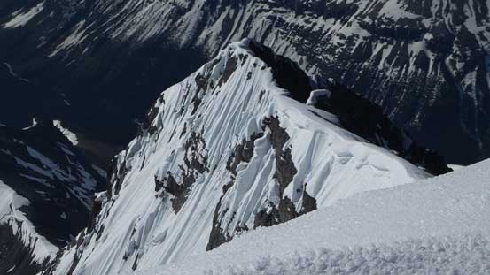 Impressive snow formation on Forbes' SW Ridge - the route of the first ascent party took...