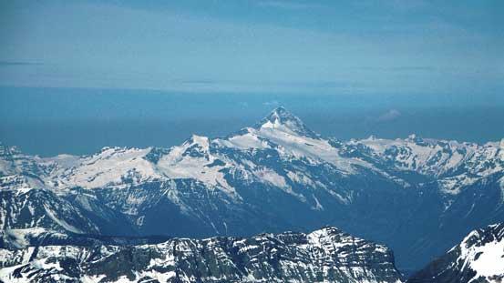 The huge bulk of Mt. Sir Sandford - highest in the Selkirks