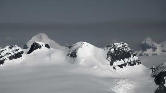 Mt. Columbia looming above Lyell III, Lyell II and Lyell I