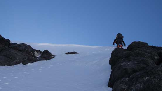 And, dropping into the snow bypassing gully