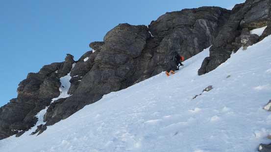 Ben finishing down-climbing the gully