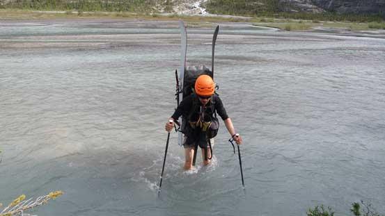 Re-crossing Glacier River