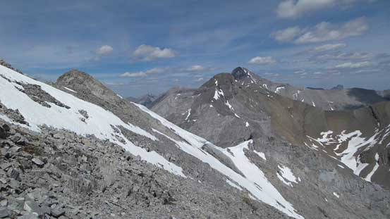 On the descent, looking towards the NE peak and Aylmer