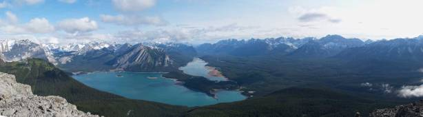 Panorama of Kananaskis Lakes and Kananaskis Valley. Click to view large size.