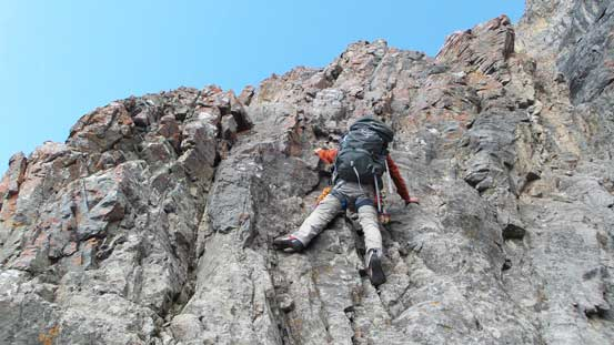 "Ascending the typical terrain on the ""left hand variation""."