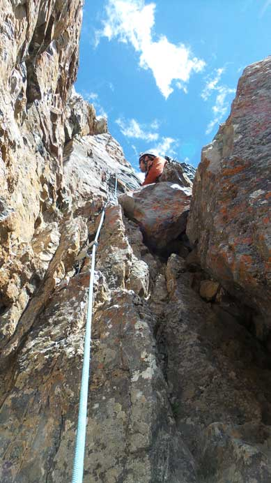 Coming up a chimney to the second-to-last belay station