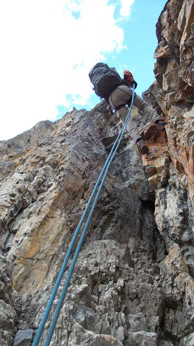 Here's the 1st rappel down the Dragon's Back