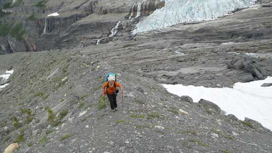 Vern ascending the crest of that moraine