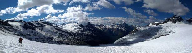Panorama from Lyell Icefield. Click to view large size.