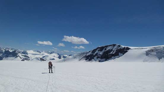 The typical slog across Lyell Icefield