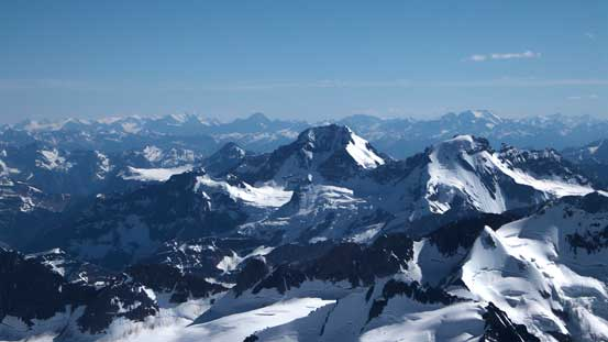 Rostrum Peak and Icefall Peak on Bush Mountain massive