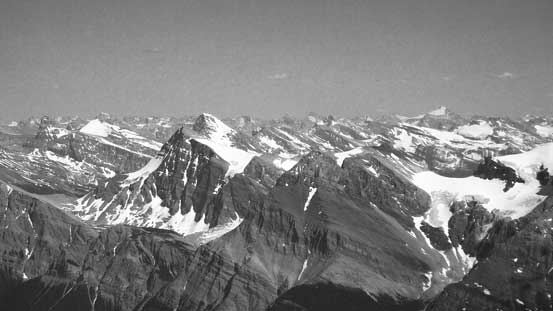 Howse Peak left of center rises behind Mt. Outram