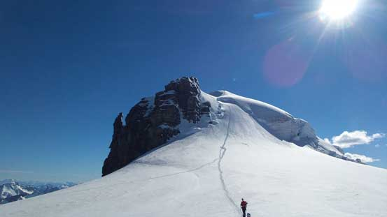 Looking back at our tracks from Lyell 2/3 col