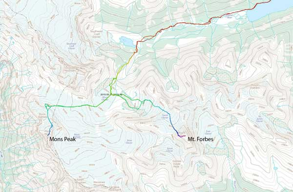 Ascent routes for Mount Forbes and Mons Peak