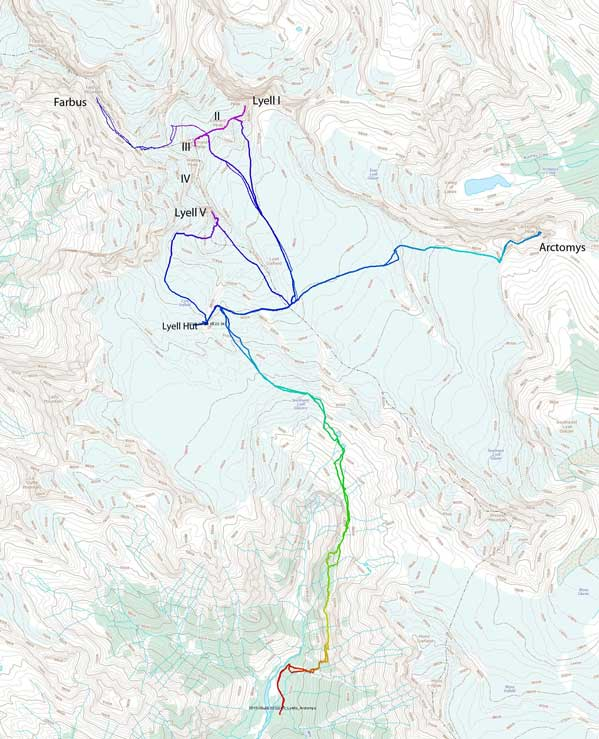 Approach and ascent routes for Lyells 1, 2, 3, 5, Farbus Mountain and Arctomys Peak