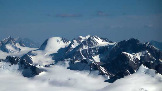 Peaks on Freshfield Icefield including Barnard, Freshfield and Dent